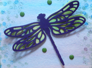 Watercolor Wash Background with Detailed Dragonfly