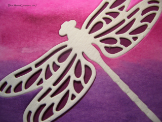Ombre Watercolor Wash Background with Detailed Dragonfly Inlaid