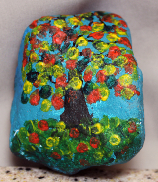 Sheltering Tree inspired painted rock