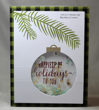 Pining for Plaid ornament shaker card