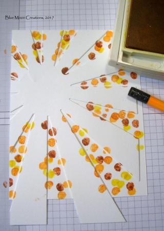 stamping with pencil eraser and sunburst die stencil