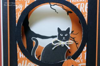 Spooky Cat Diorama Card close up