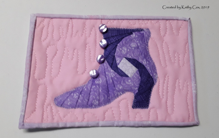 Kathy Cox quilted iris folded Victorial Shoe