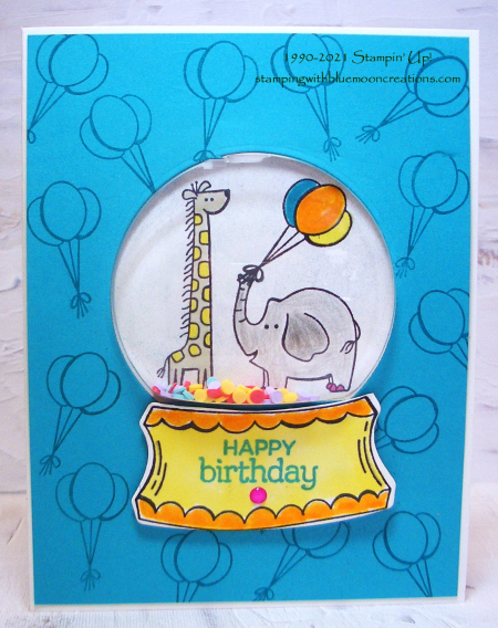 Happy Birthday Zoo Globe Shaker Card